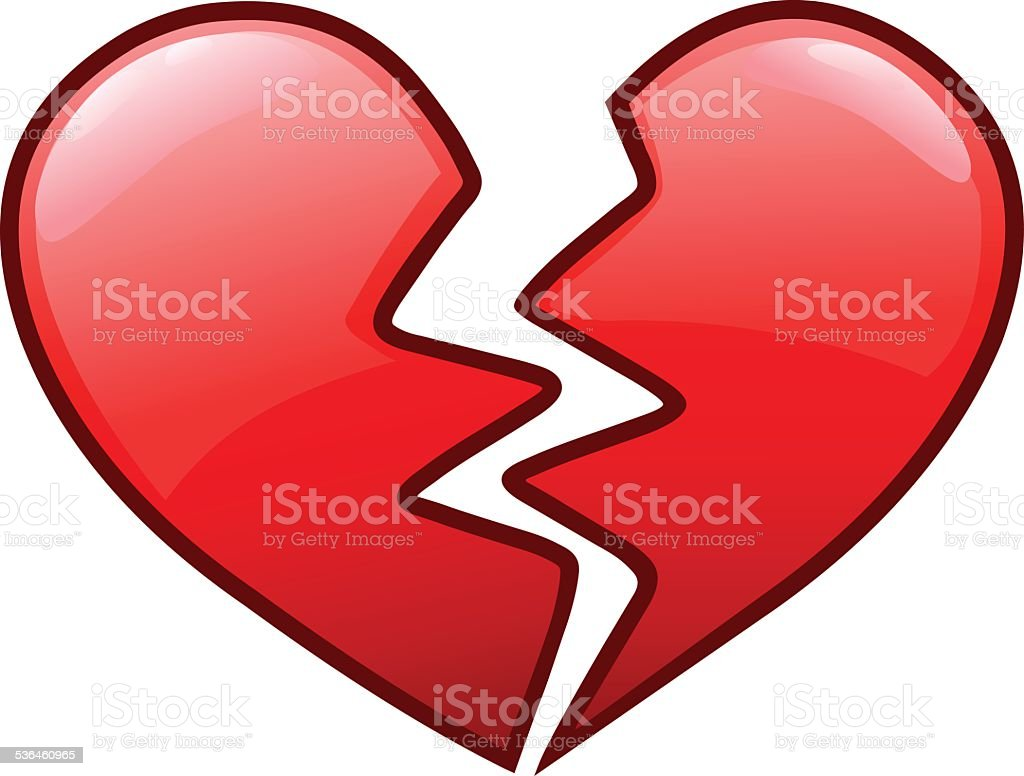 Broken heart icon vector art illustration