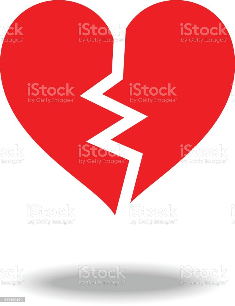 Broken heart icon. vector art illustration