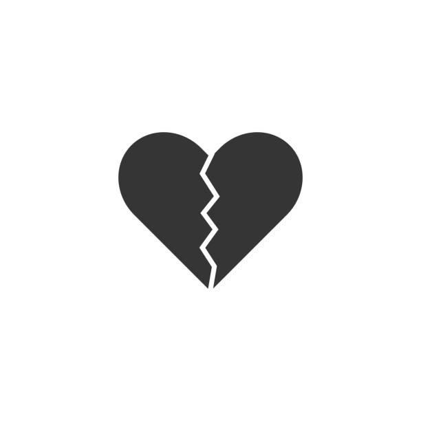stockillustraties, clipart, cartoons en iconen met gebroken hart pictogram - liefdesverdriet