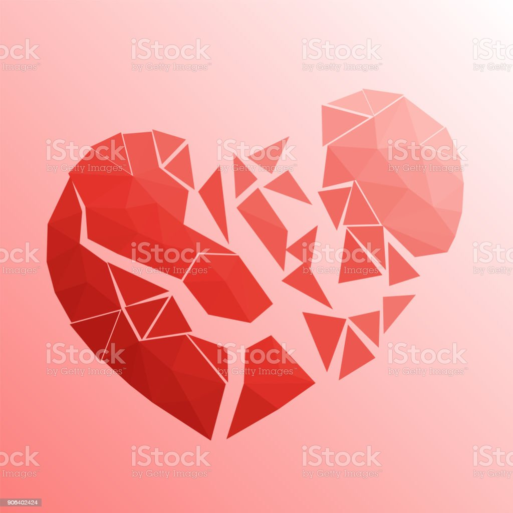 Broken heart in lowpoly style on bright background vector art illustration