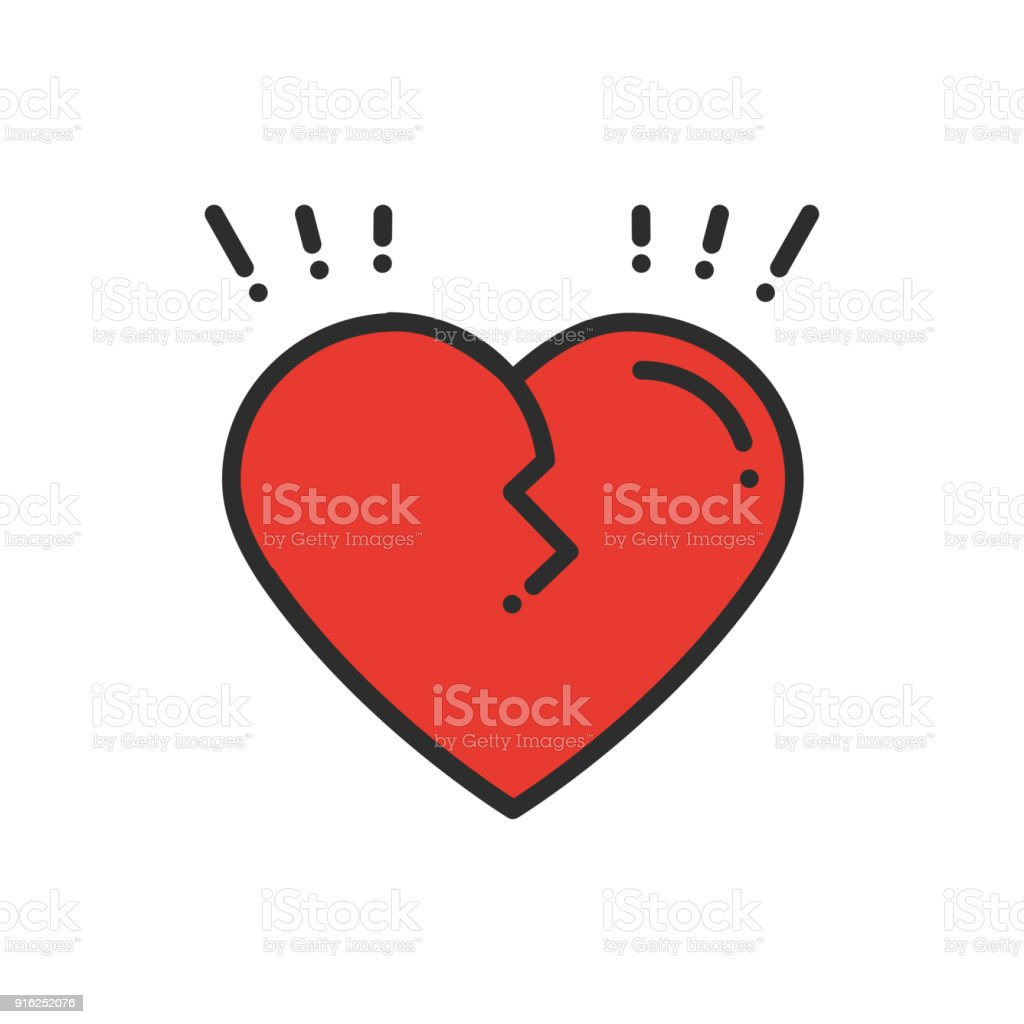 Broken Heart Line Icon Sign And Symbol Love End Relationship Lie