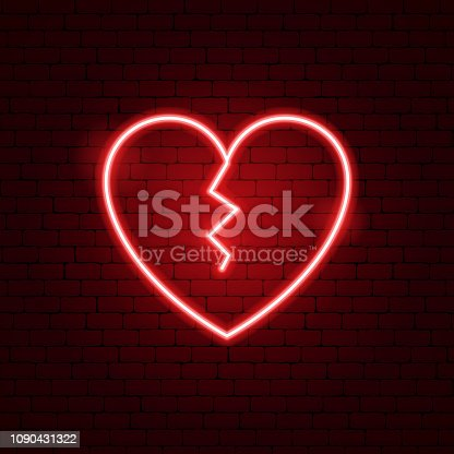 Broken Heart Neon Sign. Vector Illustration of Love Promotion.