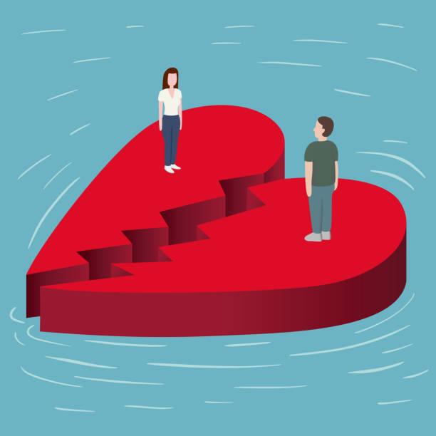 stockillustraties, clipart, cartoons en iconen met gebroken hart op de zee - liefdesverdriet