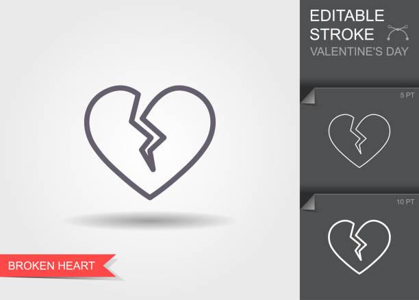stockillustraties, clipart, cartoons en iconen met gebroken hart. overzichts pictogram met bewerkbare lijn lineair symbool van de liefde met schaduw - liefdesverdriet