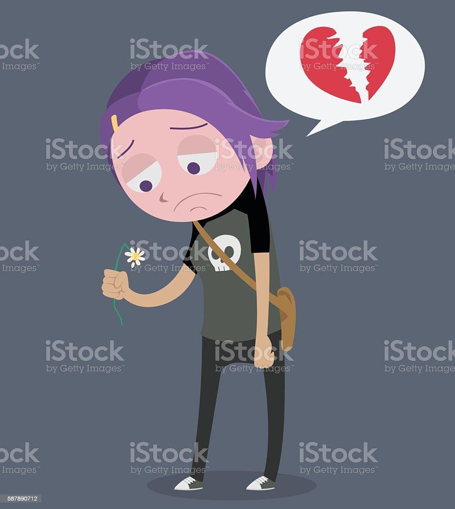 Broken heart punk girl - Illustration vectorielle