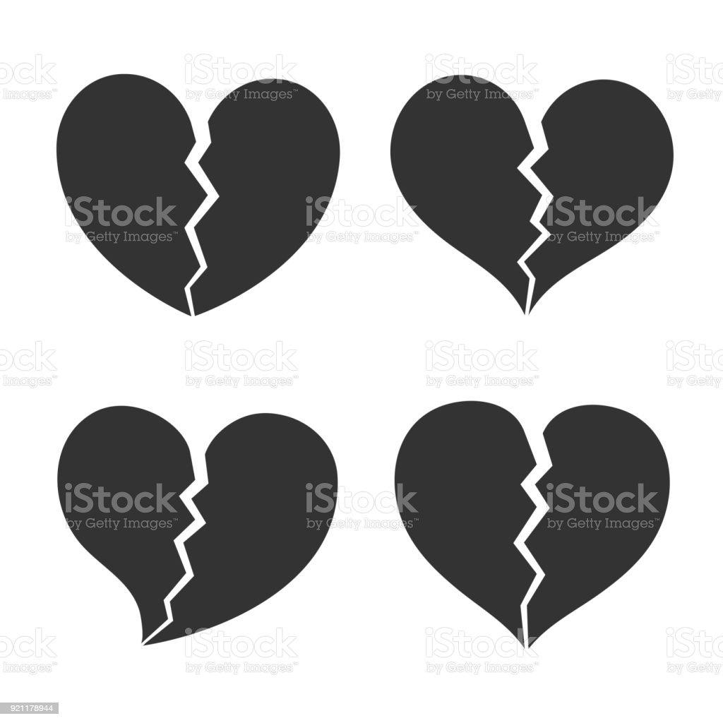 Broken Heart Shape Icon Sign Symbol Silhouette Love Healthy Vector