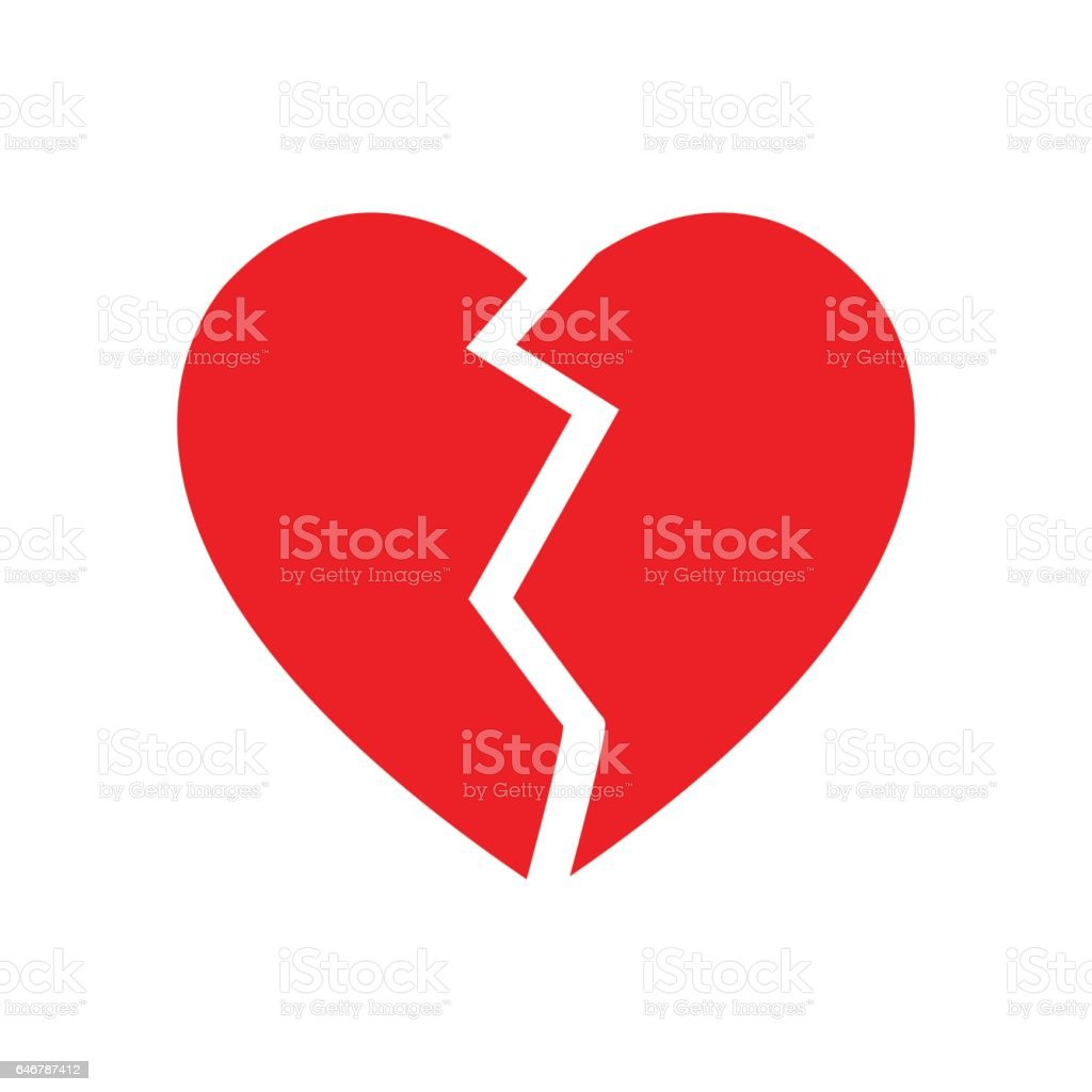 broken heart symbol isolated vector vector art illustration