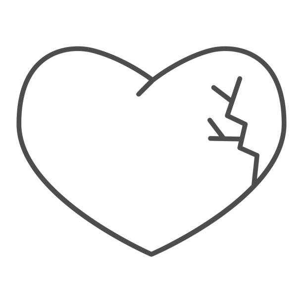 Broken heart thin line icon. Heartbreak shape, one cracked side of love symbol, outline style pictogram on white background. Valentines day sign for mobile concept or web design. Vector graphics. Broken heart thin line icon. Heartbreak shape, one cracked side of love symbol, outline style pictogram on white background. Valentines day sign for mobile concept or web design. Vector graphics unhappy couple stock illustrations