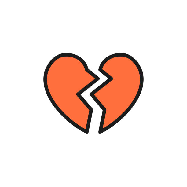 Broken heart, valentine day flat color icon. Vector broken heart, valentine day flat color icon. Symbol and sign illustration design. Isolated on white background alimony stock illustrations
