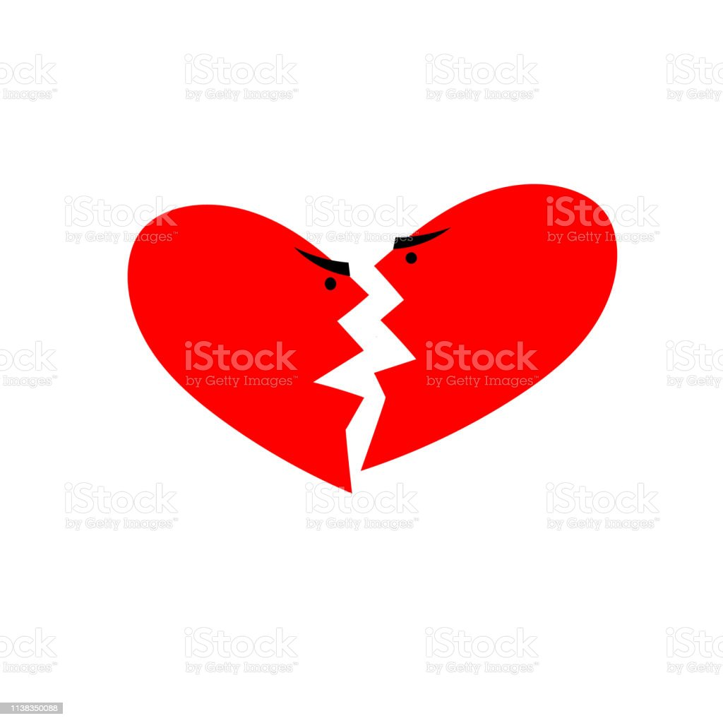 Heart icon. Quarreling couple in the form of two halves of hearts...