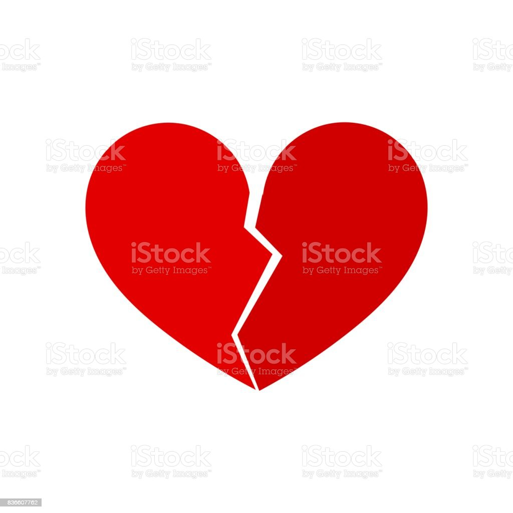 Broken heart vector art illustration