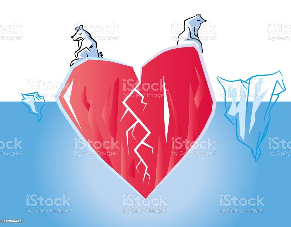 Kırık kalp vektör sanat illüstrasyonu