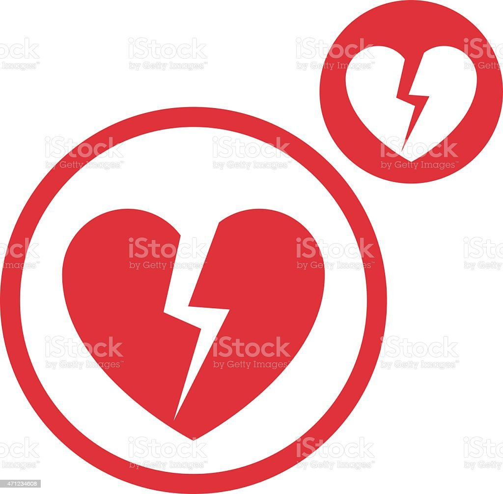 Broken heart vector simple single color icon isolated on white vector art illustration