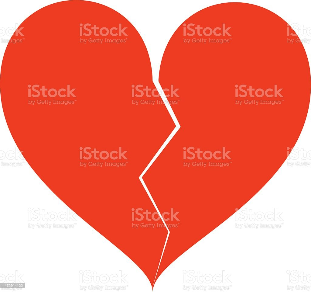 Broken heart with a crack down the middle vector art illustration