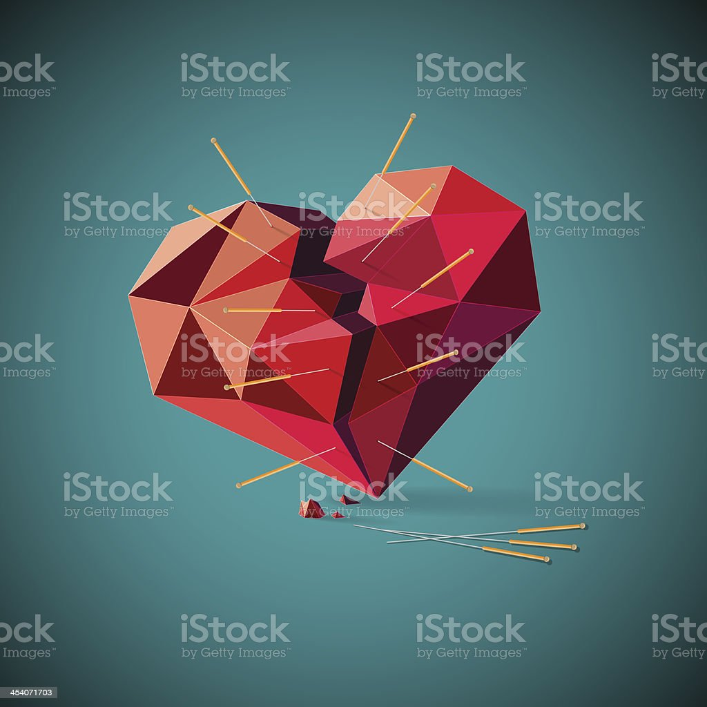 Corazón roto con la acupuntura agujas - ilustración de arte vectorial
