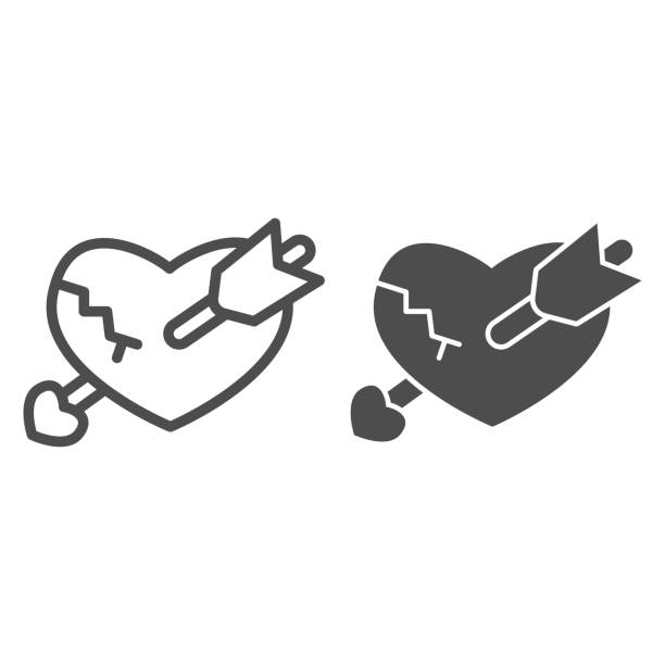 Broken heart with arrow line and solid icon, valentine day concept, crack in heart and boom sign on white background, unhappy love icon in outline style for mobile concept. Vector graphics. Broken heart with arrow line and solid icon, valentine day concept, crack in heart and boom sign on white background, unhappy love icon in outline style for mobile concept. Vector graphics unhappy couple stock illustrations