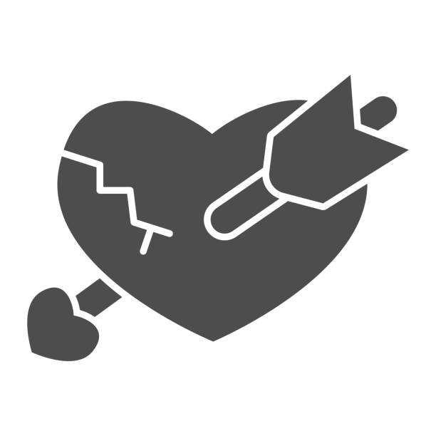 Broken heart with arrow solid icon, valentine day concept, crack in heart and boom sign on white background, unhappy love icon in glyph style for mobile concept. Vector graphics. Broken heart with arrow solid icon, valentine day concept, crack in heart and boom sign on white background, unhappy love icon in glyph style for mobile concept. Vector graphics unhappy couple stock illustrations