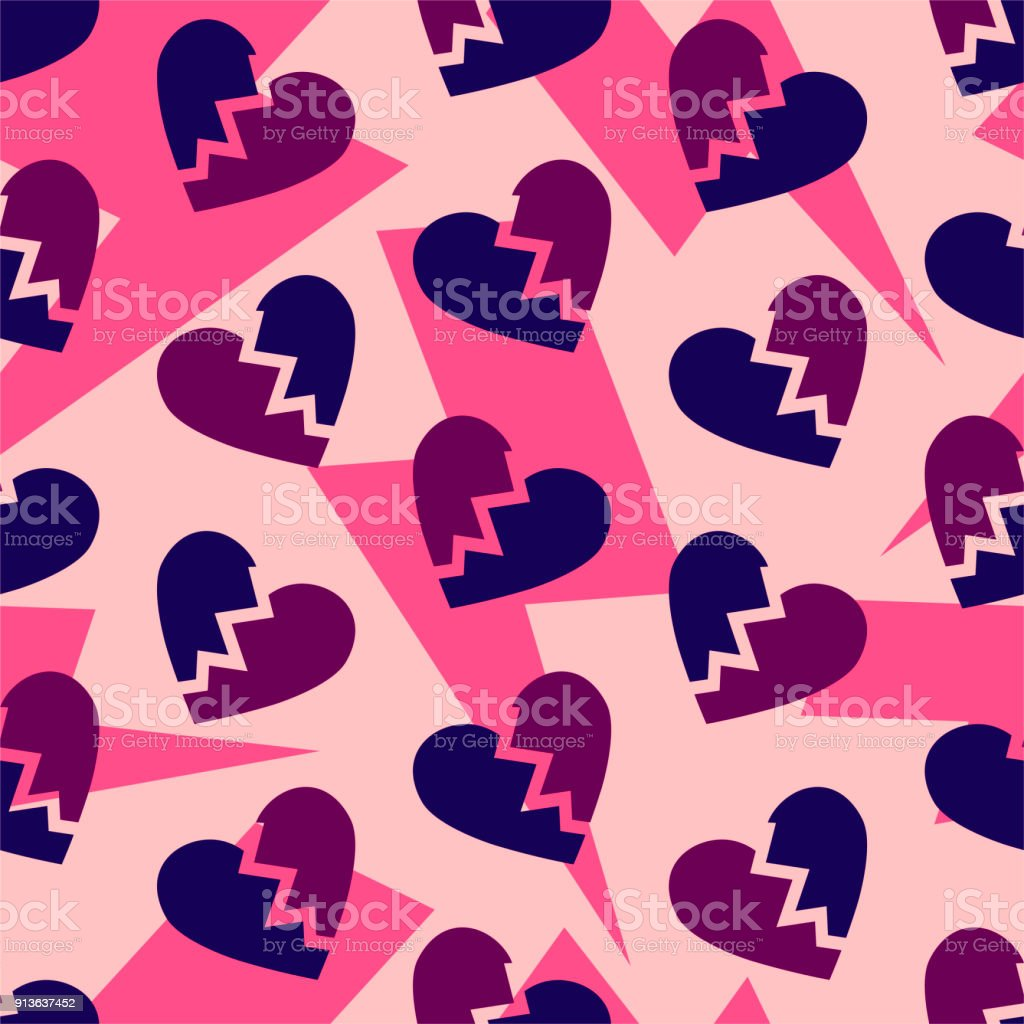 Broken hearts pattern. Thunder bolts on pink background. Divorce break split. vector art illustration