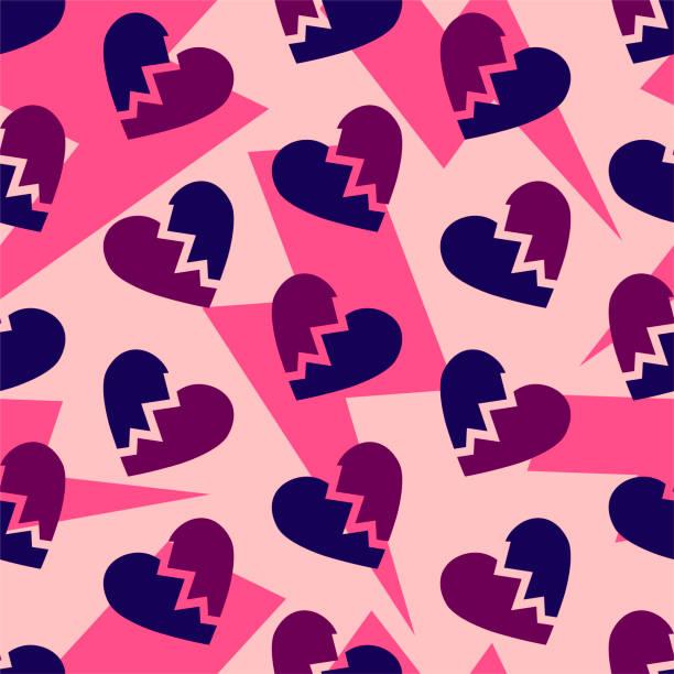 stockillustraties, clipart, cartoons en iconen met gebroken harten patroon. thunder bouten op roze achtergrond. echtscheiding-einde opgesplitst. - liefdesverdriet