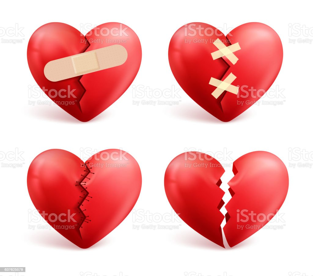 Broken Hearts Vector Set Of 3d Realistic Icons And Symbols Stock