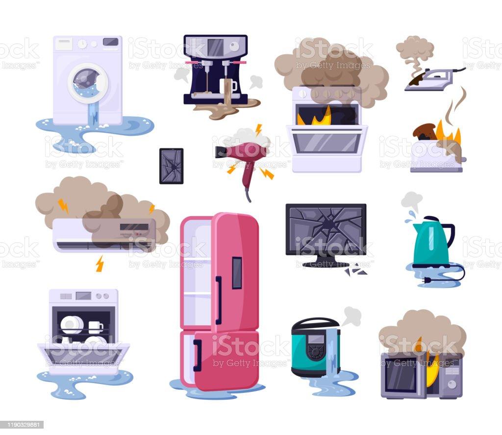 Broken home appliances flat vector illustrations set - Royalty-free Banda desenhada - Produto Artístico arte vetorial