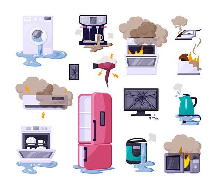 Broken Home Appliances Flat Vector Illustrations Set - Arte vetorial de stock e mais imagens de Banda desenhada - Produto Artístico