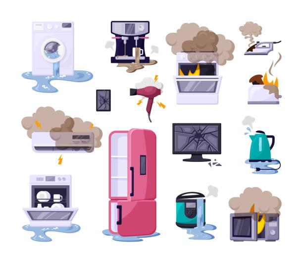 ilustrações de stock, clip art, desenhos animados e ícones de broken home appliances flat vector illustrations set - burned cooking