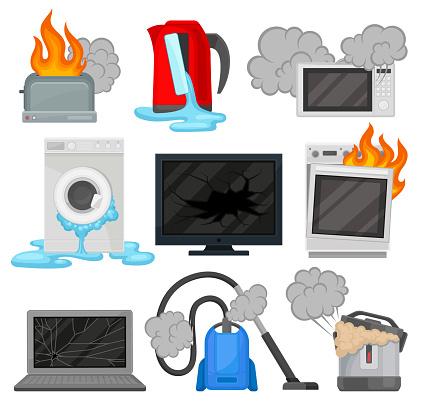 Broken Home Appliances Set Damaged Electrical Household Equipment Vector Illustrations On A White Background - Arte vetorial de stock e mais imagens de Chaleira