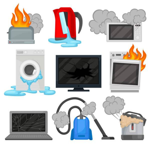 ilustrações de stock, clip art, desenhos animados e ícones de broken home appliances set, damaged electrical household equipment vector illustrations on a white background - burned oven