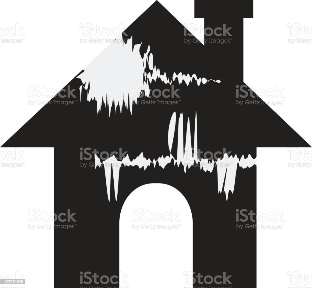 Broken house vector art illustration