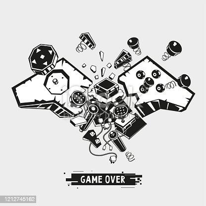 Broken joystick. Gamepad parts. Video game poster. Game over t shirt print. Vector graphic illustration.