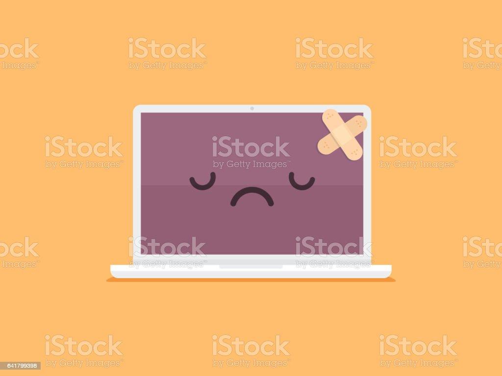Broken Laptop vector art illustration