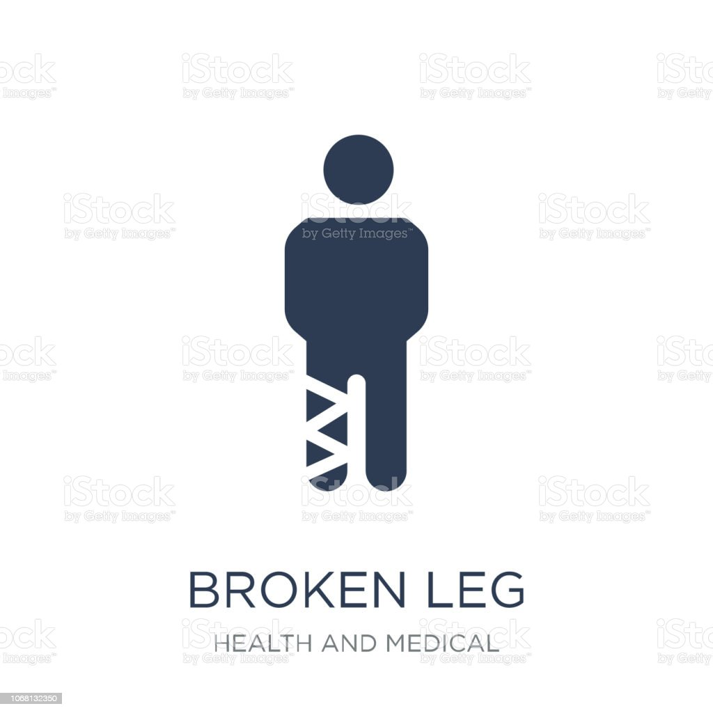 Broken leg icon. Trendy flat vector Broken leg icon on white background from Health and Medical collection vector art illustration