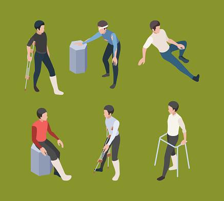 Broken legs. Crutches adult person medical orthopedics rehabilitation vector isometric human