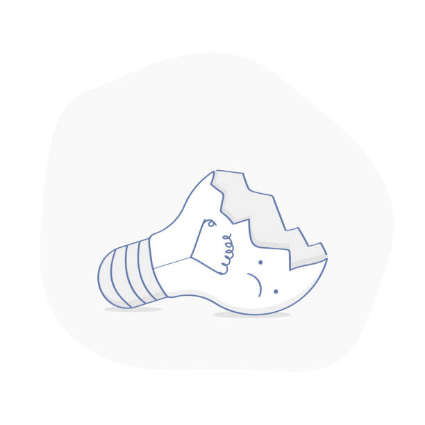 broken lightbulb, cute broken sad light bulb lies on the floor. failure, frustrated, 404 vector concept - communication problems stock illustrations, clip art, cartoons, & icons