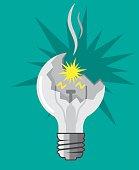 Broken lightbulb vector illustration clip-art