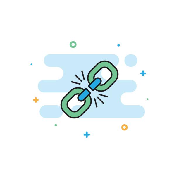 defekten link flache liniensymbol - miteinander verbunden stock-grafiken, -clipart, -cartoons und -symbole