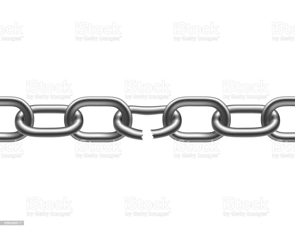 broken metal chain vector art illustration