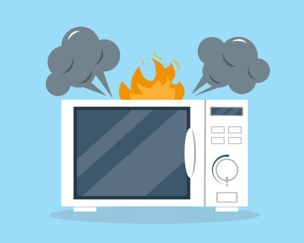 ilustrações de stock, clip art, desenhos animados e ícones de broken microwave oven in flat style. appliances vector illustration. support or repair service concept. - fail cooking