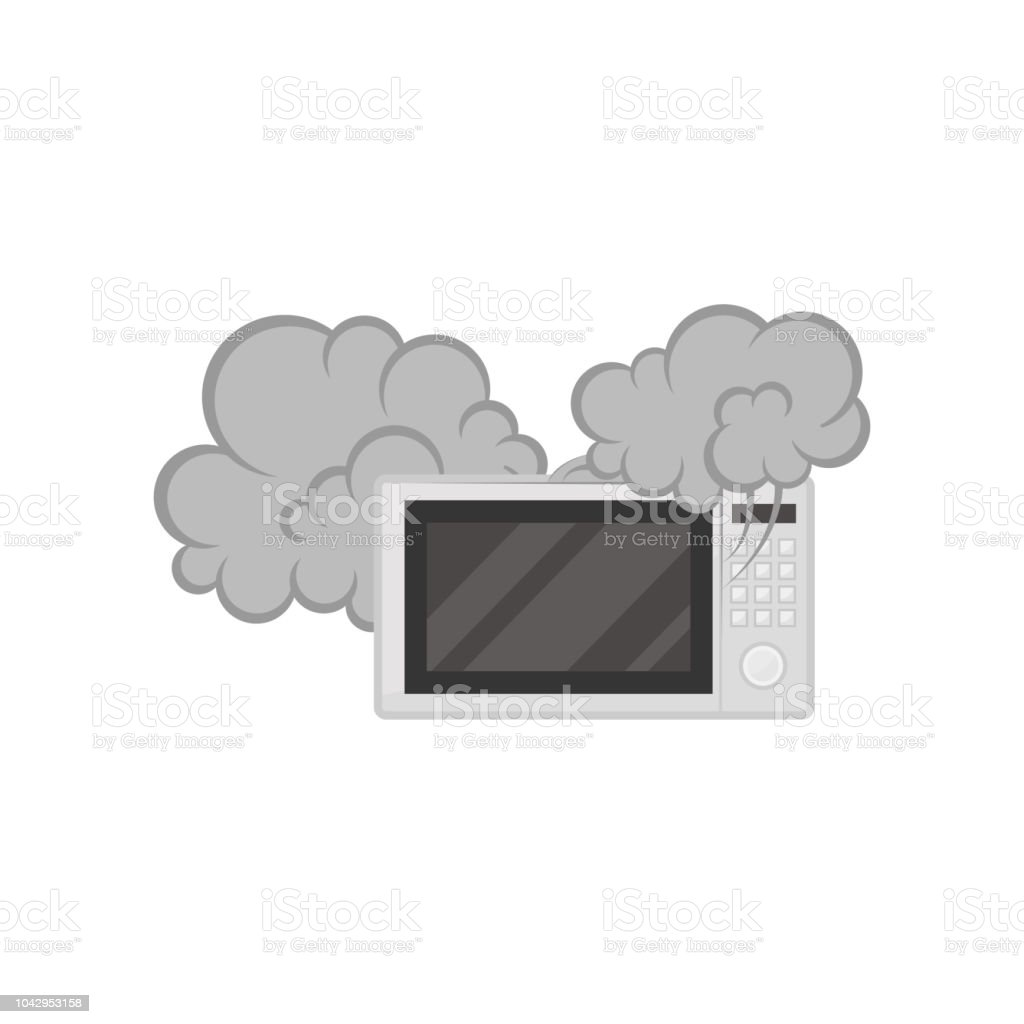 Broken microwave oven with smoke, damaged home appliance vector Illustration on a white background - Royalty-free Choque elétrico arte vetorial