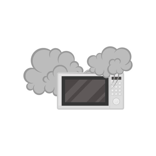 ilustrações de stock, clip art, desenhos animados e ícones de broken microwave oven with smoke, damaged home appliance vector illustration on a white background - burned oven