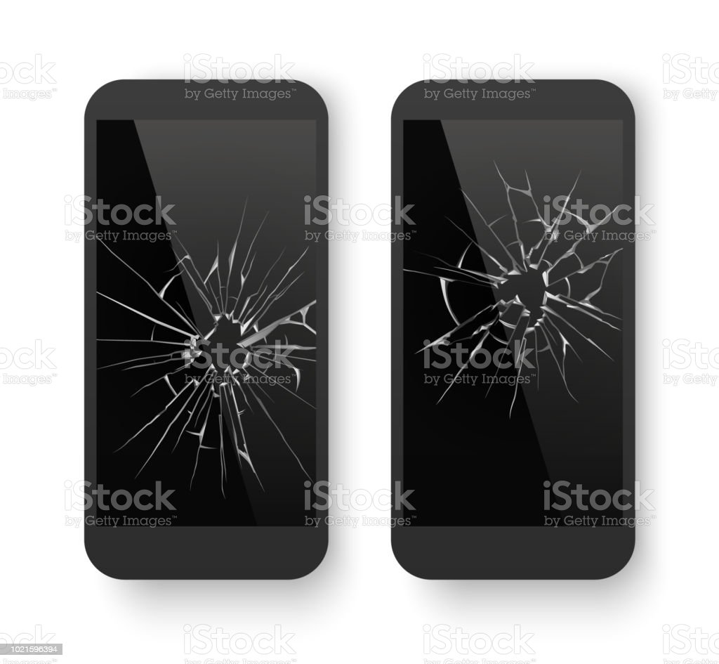 Broken mobile phone. Cracked smartphone screen. Smashed damaged cell phone. Repair vector concept vector art illustration