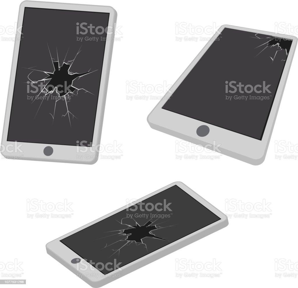 Broken mobile phone glass hole cracks electronic garbage realistic design icon vector illustration [преобразованный] vector art illustration