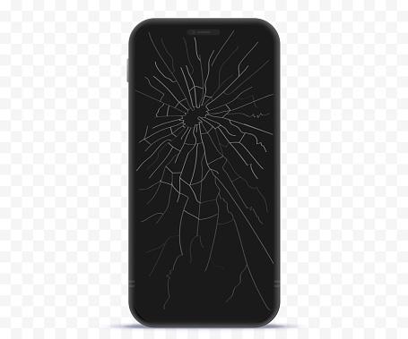 Broken Mobile Phone Screen Vector Illustration With Transparent Background.
