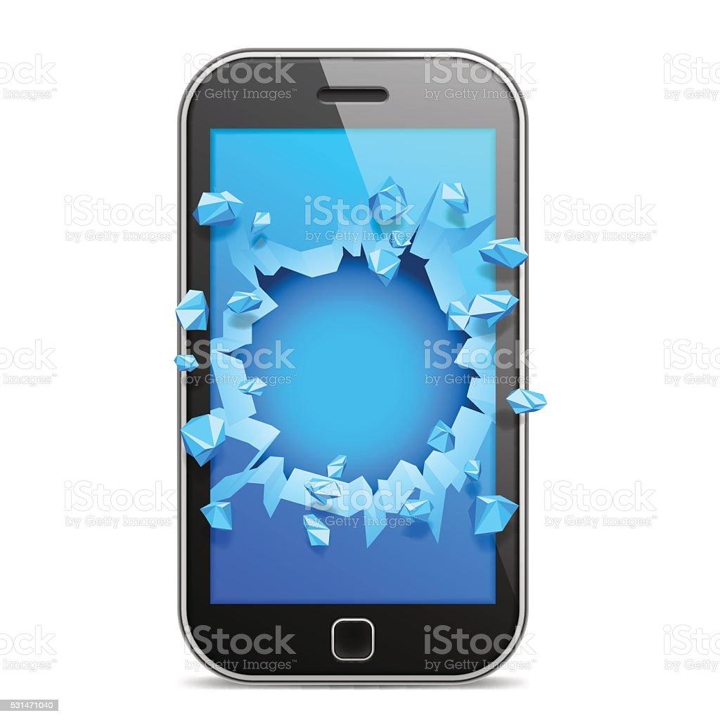 Broken Mobile Phone vector art illustration