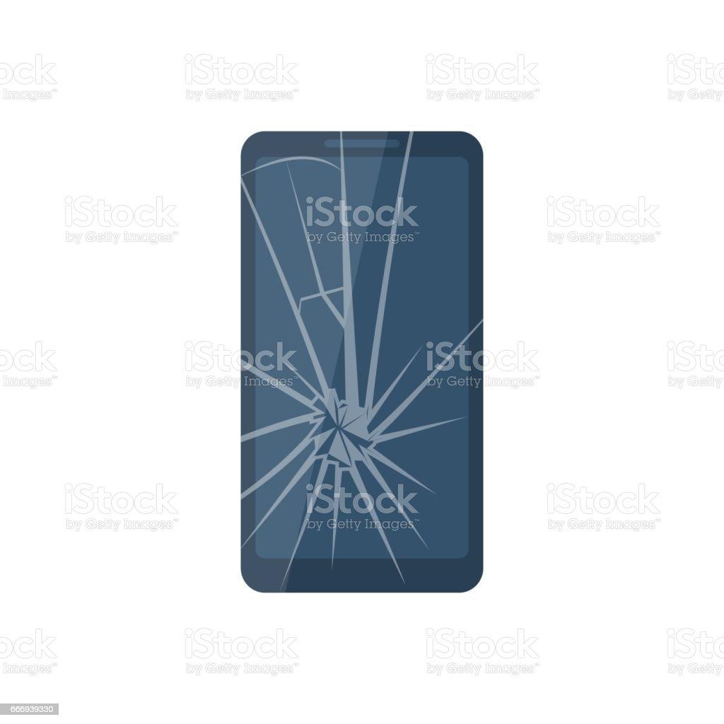 Broken mobile phone. vector art illustration