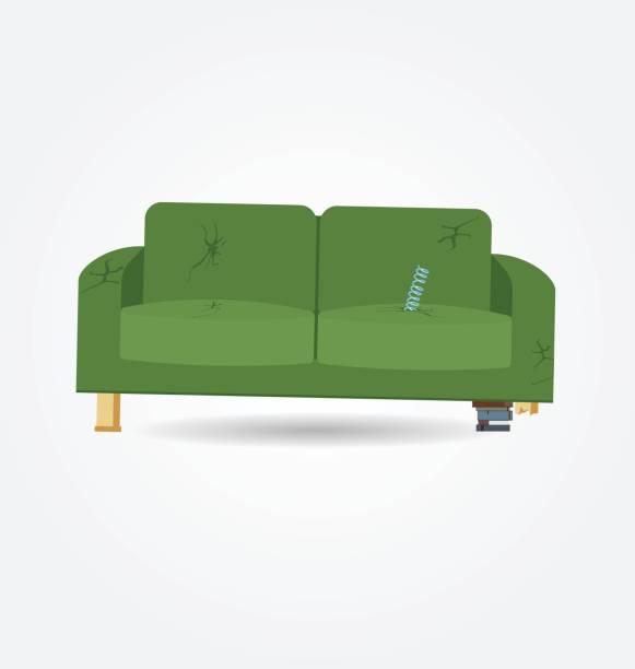 defekte alte couch mit löchern und feder aus dem sitz. flache vektor-illustration. - couch stock-grafiken, -clipart, -cartoons und -symbole