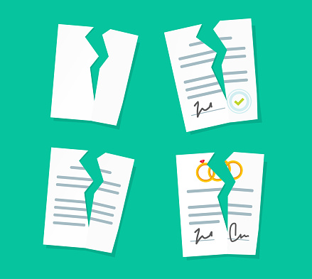 Broken paper legal documents sheets icons set vector, breach of agreement, torn prenuptial marriage contract, idea of law deal termination or cancelation flat cartoon style illustration