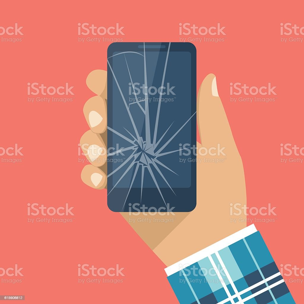 Broken phone, cracked screen vector art illustration