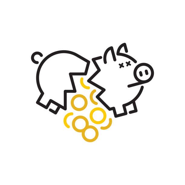 stockillustraties, clipart, cartoons en iconen met gebroken spaarpot - faillissement